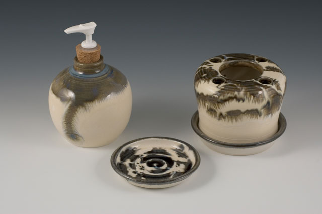 Toothbrush Holder Bath Set Handcrafted Handmade Pottery