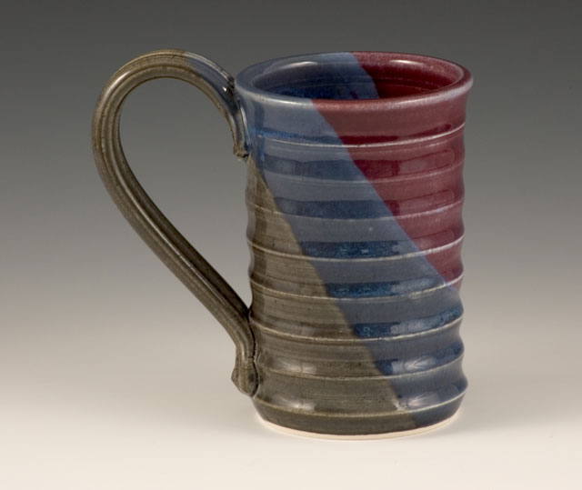 Handmade ripple mug in New River Nights glaze